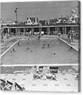 People Swimming In Pool, B&w, Elevated Canvas Print