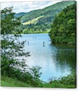 People Use Stand-up Paddleboards On Lake Habeeb At Rocky Gap Sta Canvas Print
