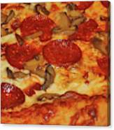 Pepperoni Pizza Mushrooms Canvas Print