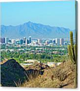 Phoenix Skyline Framed By Saguaro Canvas Print