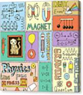 Physics Science Banners Set. Color Hand Canvas Print