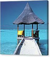Pier And Blue Indian Ocean, Maldives Canvas Print