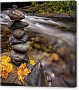 Pile Of Rocks And Autumn Leaves Next To Canvas Print