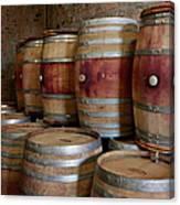 Pile Of Wooden Barrels At Winery Canvas Print