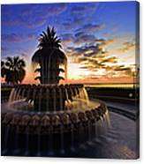 Pineapple Fountain In Charleston Canvas Print