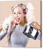 Pinup Girl Holding Kettle And Mug Canvas Print