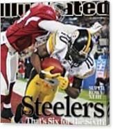 Pittsburgh Steelers Santonio Holmes, Super Bowl Xliii Sports Illustrated Cover Canvas Print