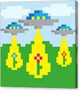 Pixel Vector Landscape With Ufo Canvas Print