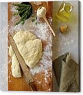 Pizza Dough And Ingredients On Cutting Canvas Print