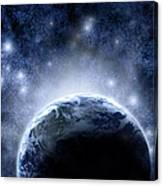 Planet Earth And Stars Canvas Print