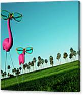 Plastic Pink Flamingos On A Green Lawn Canvas Print