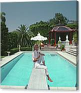 Pool And Parasol Canvas Print