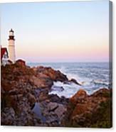 Portland Head Lighthouse At Sunset Canvas Print