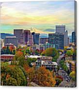 Portland Oregon Downtown Cityscape In Canvas Print