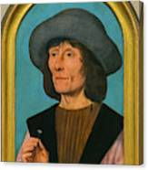 Portrait Of A Man With A Pink Canvas Print