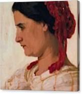 Portrait Of Angela B Cklin In Red Fishnet Canvas Print