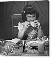 Portrait Of Little Girl Eating Buttered Canvas Print