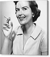Portrait Of Woman Holding Cigarettte Canvas Print