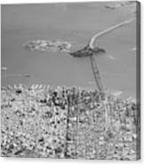 Portrait View Of Downtown San Francisco From Commertial Airplane Canvas Print