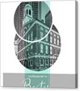Poster Art Boston Faneuil Hall - Turquoise Canvas Print