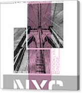 Poster Art Nyc Brooklyn Bridge Details - Pink Canvas Print