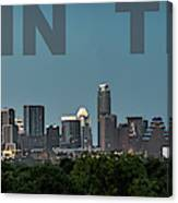 Poster Of Downtown Austin Skyline Over The Green Trees Canvas Print