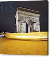 Poster Of The Arch De Triumph With The Eiffel Tower In The Picture Canvas Print