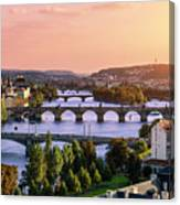 Prague, Over View Of City And River Canvas Print