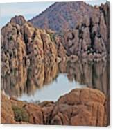 Prescott Arizona Watson Lake Hill Rcoks Water Sky Clouds 3 122019 4865 Canvas Print