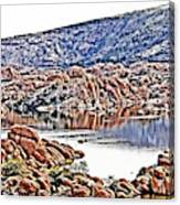 Prescott Arizona Watson Lake Rocks, Hills Water Sky Clouds 3122019 4867 Canvas Print