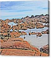 Prescott Arizona Watson Lake Rocks, Hills Water Sky Clouds 3122019 4870 Canvas Print
