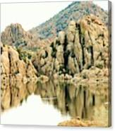 Prescott Arizona Watson Lake Water Mountains Lake Rocks Sky Reflections 4831 Canvas Print