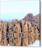 Prescott Arizona Watson Lake Water Mountains Lake Rocks Sky Reflections 4835 Canvas Print