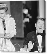 President Reagan Laughing At Queens Canvas Print