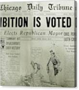 Prohibition Voted Out Canvas Print