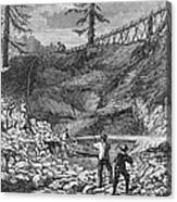 Prospectors Making Claim In Gold Rush Canvas Print