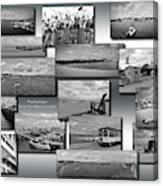 Provincetown Cape Cod Massachusetts Collage Bw 02 Canvas Print
