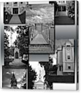 Provincetown Town Hall Cape Cod Massachusetts Collage Bw Vertical Canvas Print