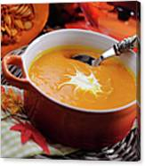Pumpkin Soup In Skew With Creme Fraiche Canvas Print