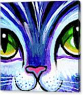Purple Cat Face With Green Eyes Canvas Print