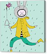 Rabbit In Rain Canvas Print