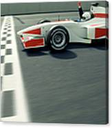 Racing Driver Crossing Finishing Line Canvas Print
