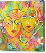 Radh Krishna Holi abstract II colorful vibrant Canvas Print