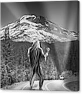 Rear View Of A Sasquatch Hitchhiking Canvas Print