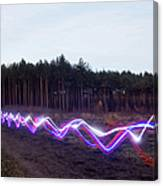 Red, Blue And White Light Trails On Canvas Print
