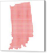 Red Dot Map Of Indiana Canvas Print