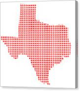 Red Dot Map Of Texas Canvas Print