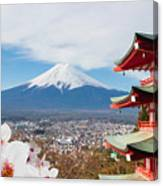 Red Pagoda With Mt Fuji Background And Canvas Print
