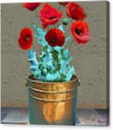 Red Patio Poppies Canvas Print
