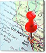 Red Pin Pointed On The Los Angeles Map Canvas Print